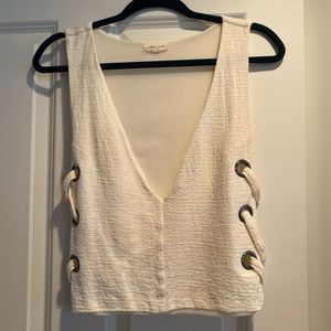Cream top with cross sides